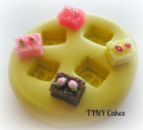 TINY Cake Tart Pie Mold Mould Resin Clay Fondant Miniature SweetsJewelry Charms Flexible Molds