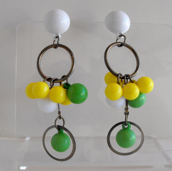 Atomic Retro Dangle Earrings Yellow Green White