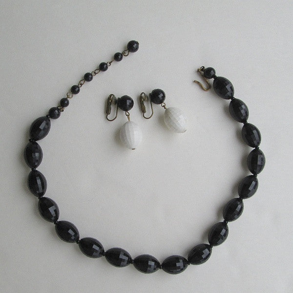Black White Faceted Choker Bead Necklace Earring Set