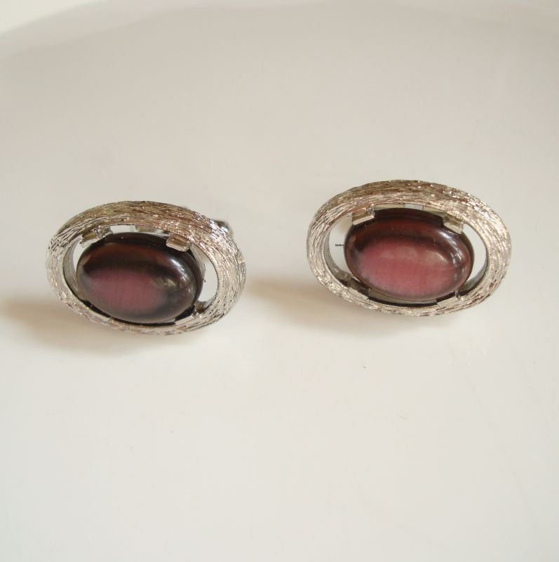 Amethyst-Colored Glass Cabochon Cufflinks Vintage Jewelry
