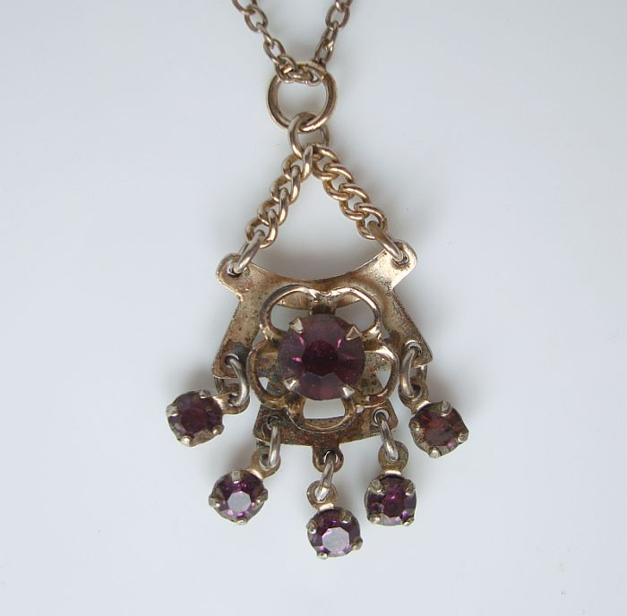 Victorian Style Amethyst Rhinestones Pendant Necklace Vintage Jewelry