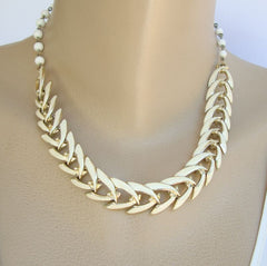 CORO 1950s Enameled Herringbone Link Necklace Vintage Jewelry