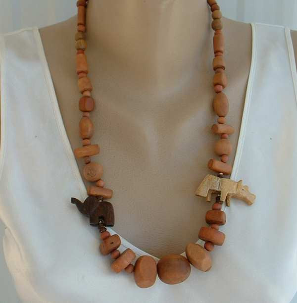 Hand Carved Wood Elephant Rhino Necklace Vintage Animal Jewelry