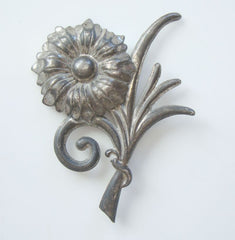 Antique Art Nouveau Sterling Silver Floral Brooch Repousse Vintage Jewelry