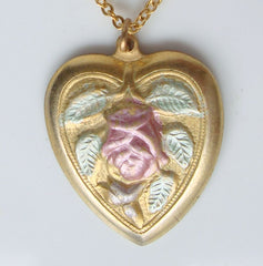Stamped Enameled Heart Pendant Necklace Pink Green Floral Vintage Jewelry