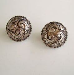 Art Nouveau Dome Leverback Earrings Silver Niello Vintage Jewelry