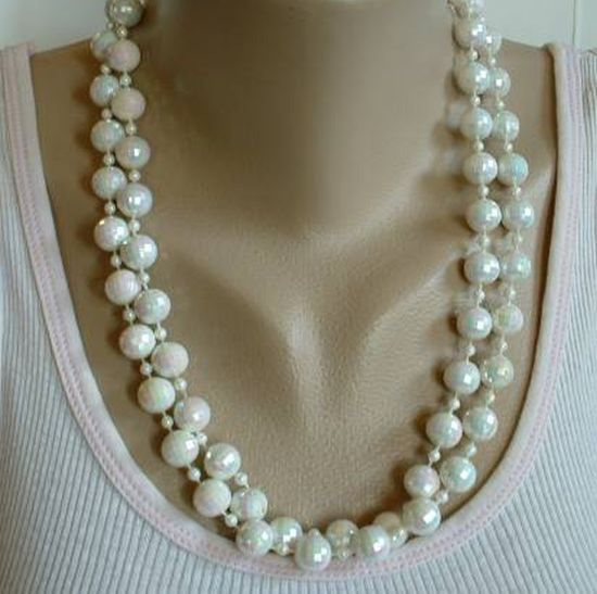 Simulated 'White Opal' Vintage AB Necklace 46 inches Flapper length
