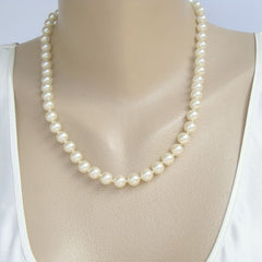 Elegant Single Strand Faux Pearls Hand Knotted Wedding Jewelry