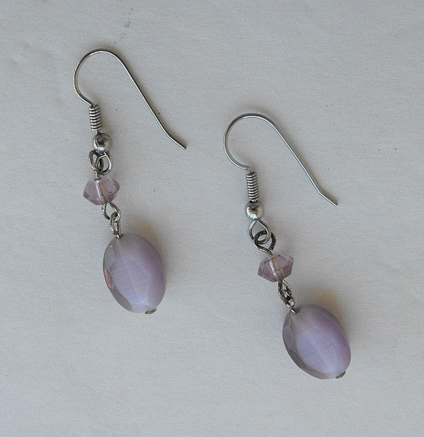 Pink Lavender Moonstone Faceted Dangle Earrings Jewelry