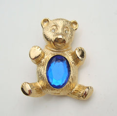 Cute Teddy Bear Brooch Large Blue Sapphire Faceted Glass Stone