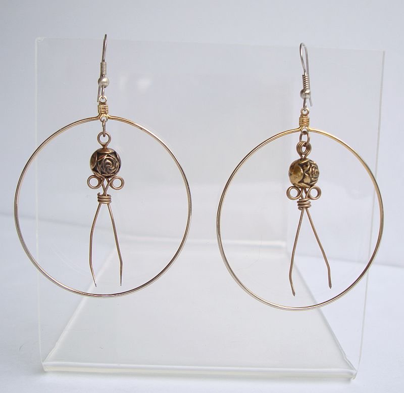 Large Hoop Earrings with Brass Rose Dangle Insert Floral Jewelry