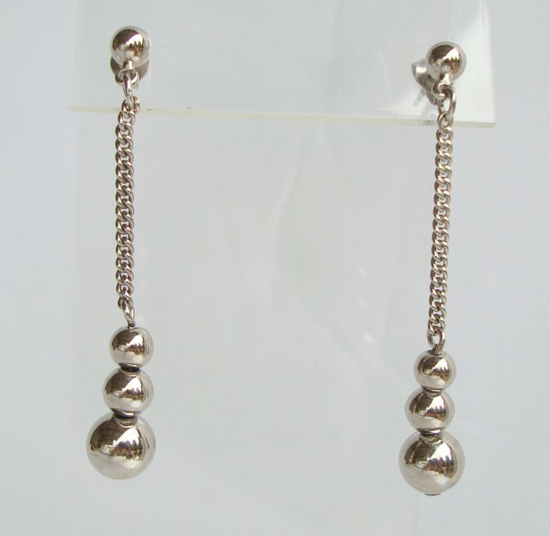 Silver Bead Dangle Earrings Post Style Chain Jewelry