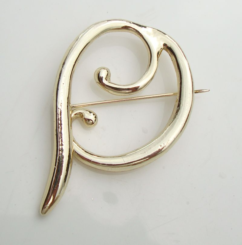 Antique Retro Brooch Abstract Design Stylistic Monogram P Vintage Jewelry