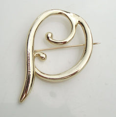 Antique Retro Brooch Heavily Gold Plated Abstract Design Vintage Jewelry