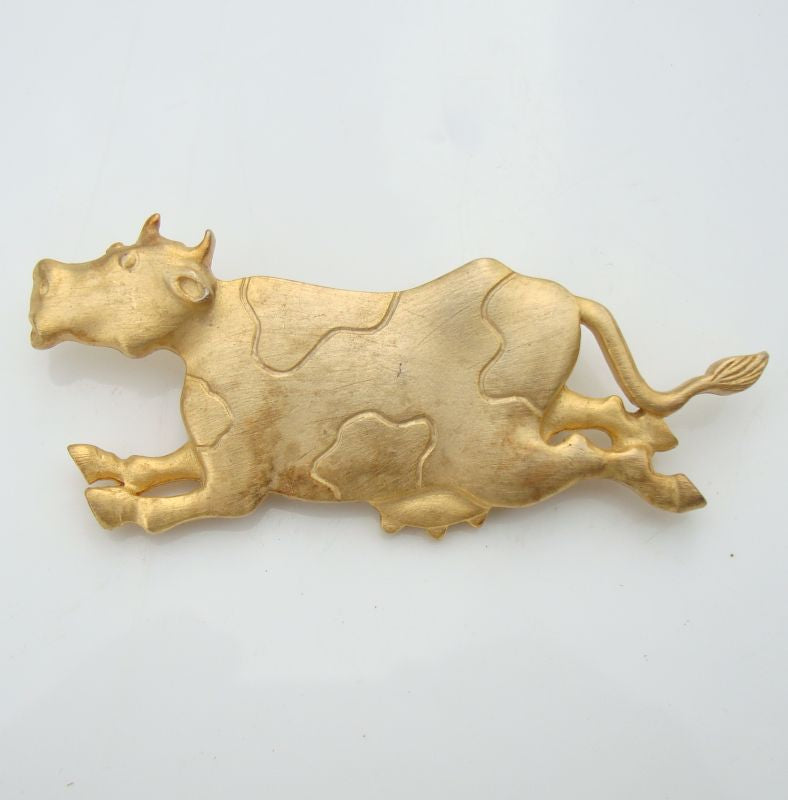 JJ Goldtone Leaping Cow Brooch 1988 Vintage Jewelry