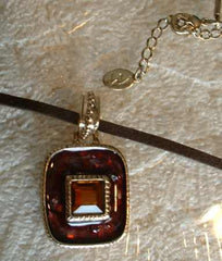 Liz Claiborne Pendant Necklace Burgundy Art Glass Citrine Stone