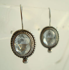 Oval Cut Rhinestone Leverback Earrings Sparkling Jewelry