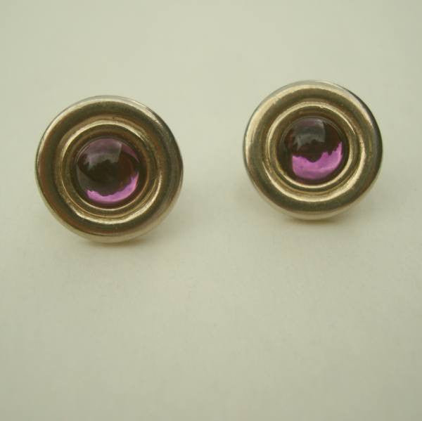 Avon Glass Amethyst Cabochon Clip Button Earrings