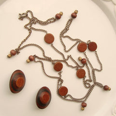 Wood-Grain Bakelite Post Earrings Wood Necklace Married Set Vintage Jewelry
