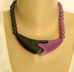 Purple Black Retro Necklace Married Earrings Set Vintage Jewelry