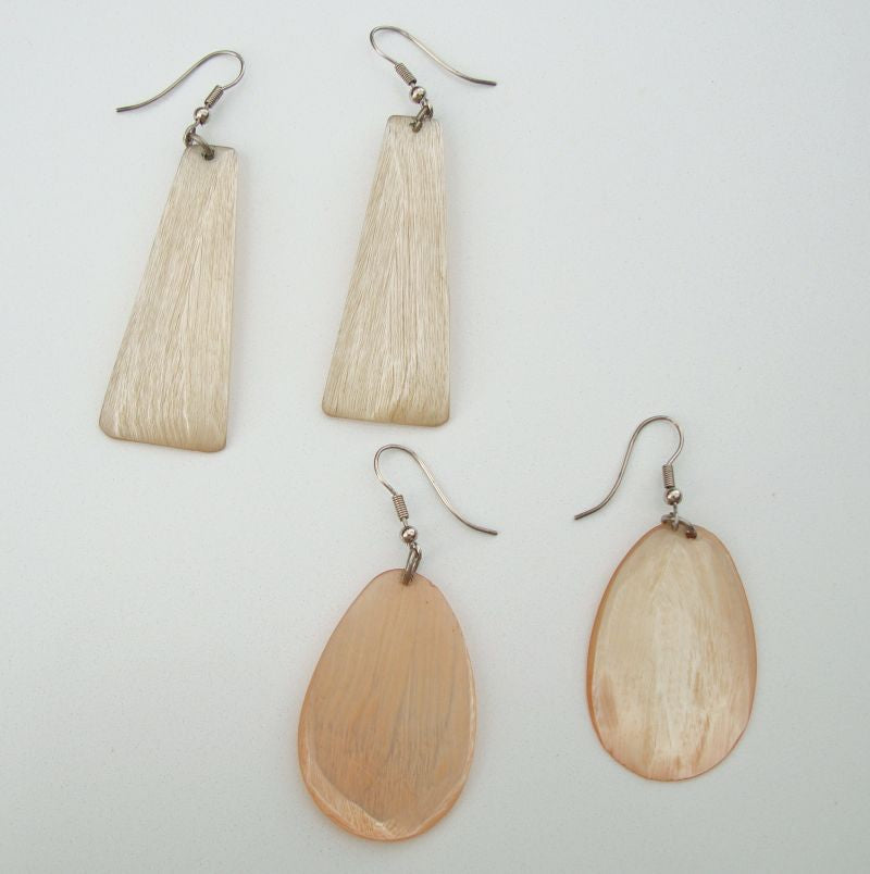 Two Pair Vintage Carved Lucite Dangle Earrings Peach Off White Vintage Jewelry