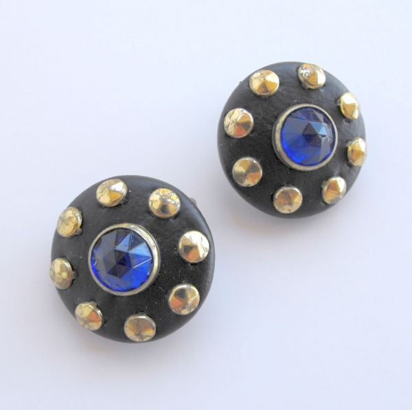 Cobalt Blue Rivoli Rhinestone Leather Clip Earrings 1940s