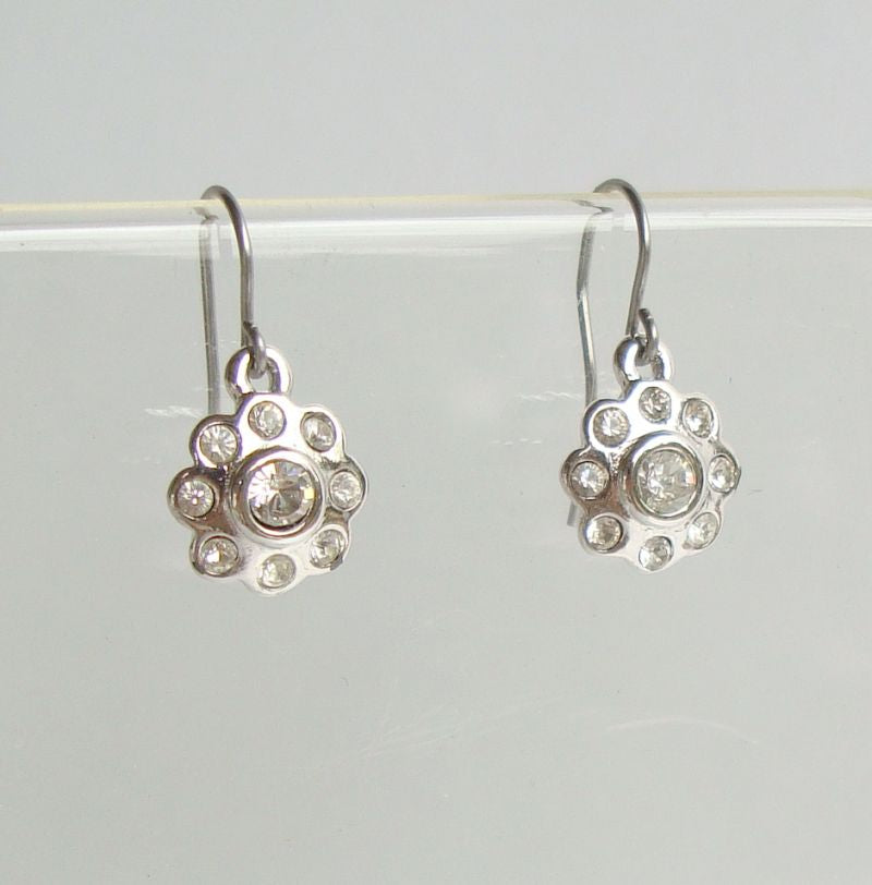 Floral Design Rhinestone Rhodium Plated Dangle Earrings Vintage Jewelry