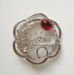 Red Cabochon Filigree Circle Brooch Etched Vintage Floral Jewelry