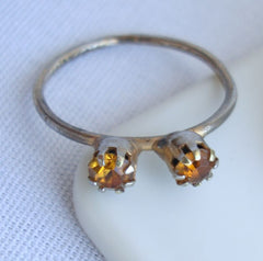 Antique Double Citrine-Rhinestone Ring Size 6.5 Vintage Jewelry