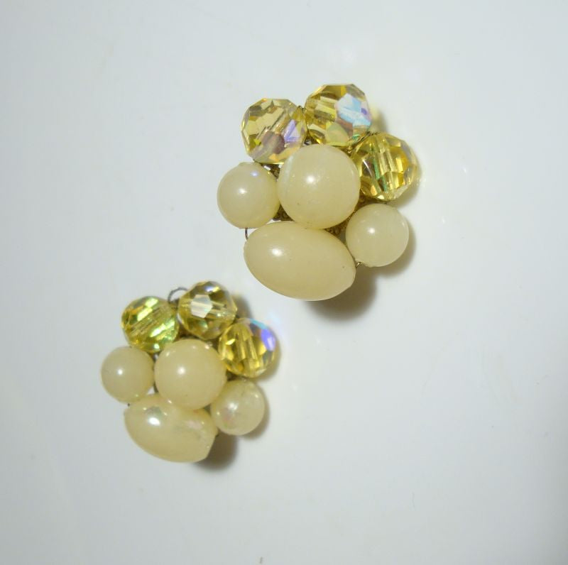 DALSHEIM Lucite Yellow AB Crystal Clip On Earrings c1950s