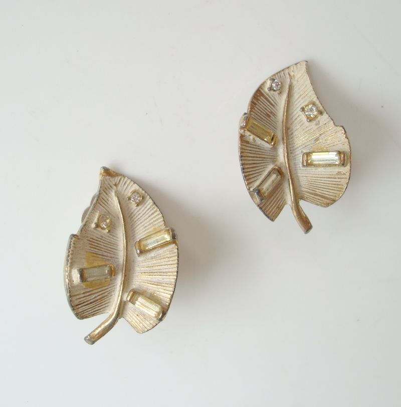 White Enamel Leaf Clip On Earrings Baguette Rhinestones Vintage Jewelry