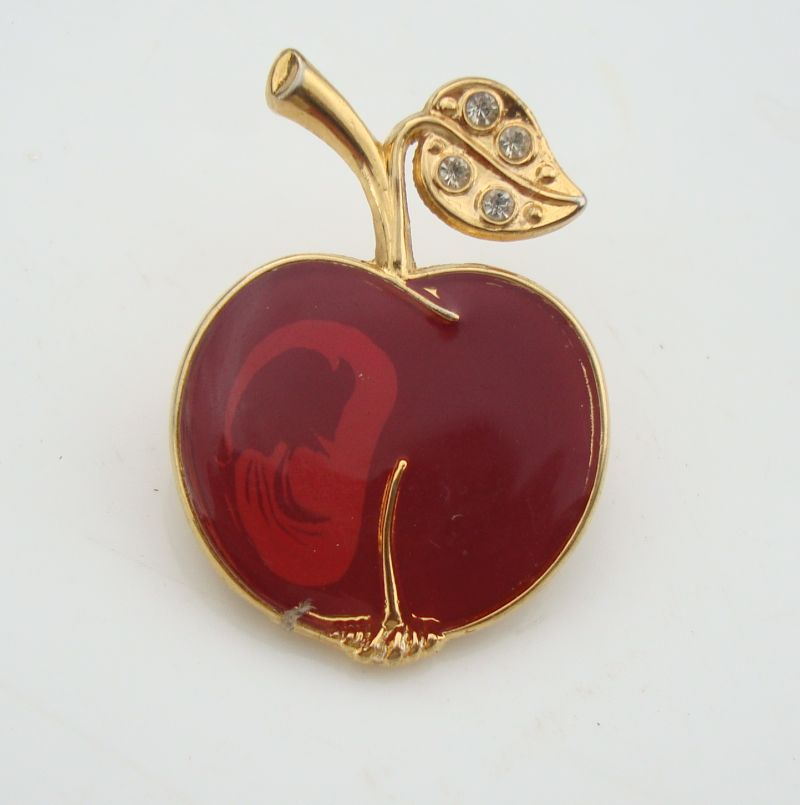 Small Red Enamel Apple Pin Rhinestone Leaf Teacher Jewelry