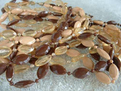 52-inch Triple Strand Necklace Apple Juice Brown Lucite Molded Beads Vintage