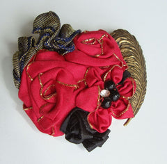 Hand Crafted Cloth Brooch Red Roses Antiqued Leaf Vintage Jewelry