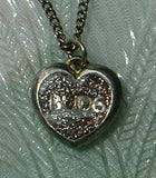 Glitter 'Buds' Heart-Shaped Pendant Necklace 1970s Vintage Jewelry