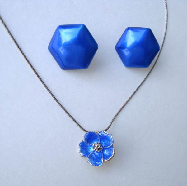 Cobalt Blue Enameled Set Slider Necklace Post Earrings Vintage Floral Jewelry
