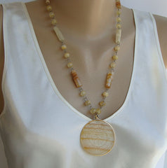 Faux Yellow Onyx Etched Medallion Necklace Stratified Beads Vintage Jewelry