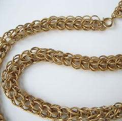Interlocking Rings Wide Chain Necklace 30 inches Vintage Jewelry