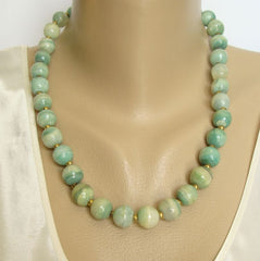 Green Onyx Marble Bead Necklace Hand Carved Gemstone Jewelry
