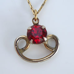 Retro Red Ruby Rhinestone Pendant Necklace Trifari Chain Vintage Jewelry