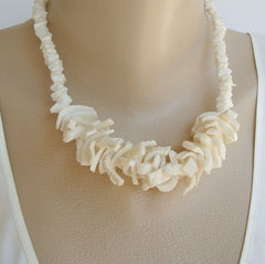 Chunky White Shell Necklace Pierced Earrings Set Natural Marine Jewelry