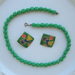 Green Lucite Bead Necklace Retro Geometric Earrings Vintage Married Jewelry Set