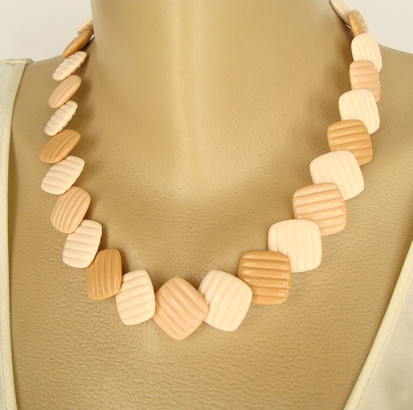 Light Brown White Square Thermoset Necklace Earrings Set c1960s Vintage Jewelry