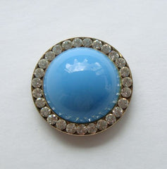 Pendant for Ribbon Necklace or Bolo Turquoise Glass Rhinestones Vintage