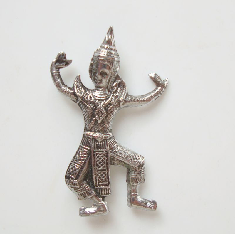Tiny Thai Siam Dancer Pin Niello Geisha Repousse Old Vintage Jewelry