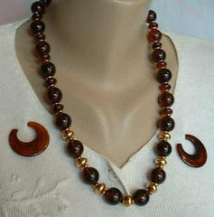Faux Amber Bead Necklace and Married Earrings Set