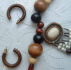 Wood Bead Necklace Metal Pendant Married Earrings Set Vintage Jewelry