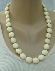 Cushion Shaped Off-White Bead Necklace 23 inches Vintage Jewelry