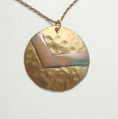 Copper Brass Modernist Style Pendant Necklace Mixed Metal Vintage Jewelry