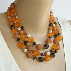 West Germany Triple Strand Necklace Molded Fruit Salad Vintage Jewelry